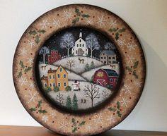 Christmas Folk Art Original Hand Painted Wood Plate  by Ravensbend