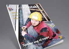 Backe Kontakt magazine by Backe Gruppen. Pinned from www.redink.no. Magazine Design, Baseball Cards