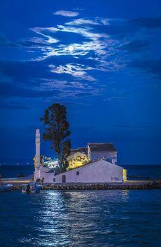 The church of Panagia Vlacherna at Kanoni, Corfu, Greece