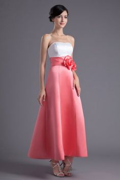 Two-toned Strapless Satin Short Bridesmaid Dress