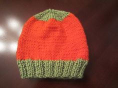 Adorable Fall Winter Knit Soft Warm Orange Child Hat With Soft Green Trim For Child 6-18 Months