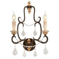Troy Lighting Bordeaux 2 Light Double Wall Sconce Parisian Bronze with Distressed Gold Leaf Indoor Lighting Wall Sconces Up / Down Lighting Bronze Wall Sconce, Wall Sconce Lighting, Candle Sconces, Candelabra Bulbs, Troy Lighting, Crystal Wall, Clear Crystal, Crystal Beads, Glass Beads
