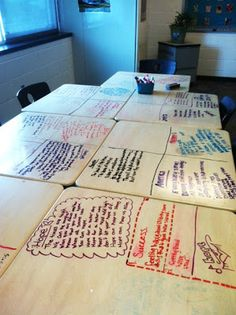 Engage your students by letting your students write on the desks (yes, I said WRITE on the desks) with dry erase markers! :)