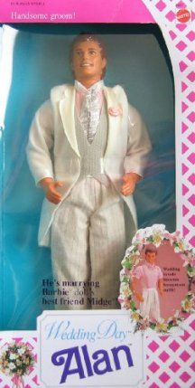 Barbie Wedding Day ALAN Doll (1990) by Mattel. $29.95. BoxWedding Tuxedo becomes a Honeymoon Outfit. Alan is marrying Barbie Doll's best friend Midge (Midge NOT included). CAUTION: Small Parts included. Wedding Day ALAN Doll is great for any collection, as a gift or fun play! PLEASE check in CONDITION NOTE/Comments for the Box Condition.. Wedding Day ALAN Doll is a 1990 Mattel production, made in Malaysia.. For Ages 3+ Years. All details to the best of my ability; colors, styles...