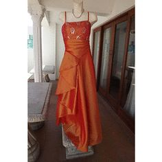 Eyecatching Orange Satin Formal Evening Dress in size once to matric farewell-Scarf incl for Formal Evening Dresses, Ball Dresses, Size 16, Party Dress, Satin, Orange, Fashion, Moda, Formal Evening Gowns