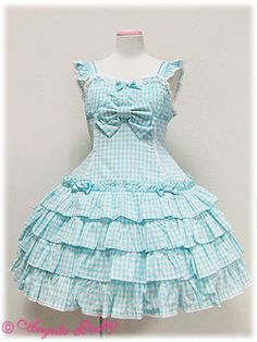 Angelic Pretty Frill Gingham Low Waist JSK    I own this...! <3 In this color! <3