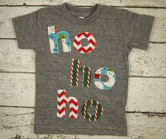 Ho ho ho Holiday Shirt Christmas tee toddler baby great present snowman candy cane chevron