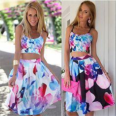 Women's Straps Suits , Cotton Blend Sexy/Beach Sleeveless Paula – USD $ 13.99