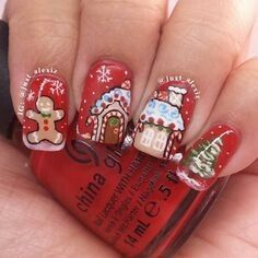 25 Winter Nail Art Ideas & Designs That You Will Love Cute Christmas Nails, Xmas Nails, New Year's Nails, Christmas Nail Designs, Love Nails, Pretty Nails, Hair And Nails, Christmas Manicure, Holiday Nail Art