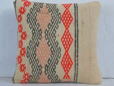 Turkish Pillow - Turkish Kilim Pillow Cover Red Black pink Embroidery on Cream Background Sheep Wool Pillow  Couch Pillow Sofa Pillow