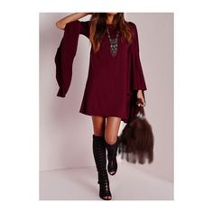 Rotita Wine Red Flare Sleeve Boat Neck Dress (2380 ALL) ❤ liked on Polyvore featuring dresses, wine red, long sleeve dresses, purple mini dress, mini dress, bell sleeve dress and purple dress