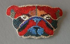 Bead embroidered Bull Dog barrette