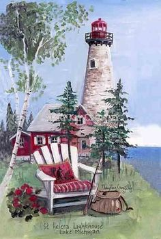 Helena Lighthouse ~ Lake Michigan excellent merge of color and ever so tiny lean of the lighthouse; Lake Michigan Lighthouses, Poseidon, Decoupage, Lighthouse Painting, Lighthouse Pictures, Image Nature, Images Vintage, Naive Art, Beach Art