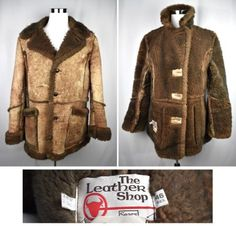 VTG-SEARS-Genuine-Shearling-Mountain-Man-Sheepskin-Coat-Western-Marlboro-46 Shearling Coat, Fur Coat, Statement Jackets, Sheepskin Coat, Mountain Man, Sleeves, Leather, Shopping, Fashion