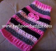 Scrappy Striped Dog Sweater Crochet pattern -- For SMall Dogs 2 lbs. Small Dog Sweaters, Small Dog Clothes, Pet Clothes, Crochet Dog Sweater Free Pattern, Free Crochet, Crochet Patterns, Crochet Dog Clothes, Dog Jumpers, Dog Clothes Patterns