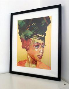 Original Erykah Badu watercolor digital print by BeautyFliesAround, €20.00