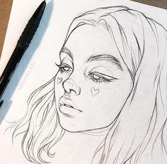 Kunst Zeichnungen - На фото Буду делать в цвете 🌈 . Pencil Art Drawings, Art Drawings Sketches, Easy Drawings, Portrait Sketches, Tattoo Sketches, Drawings Of Girls, Tumblr Art Drawings, Hipster Drawings, Drawing Girls