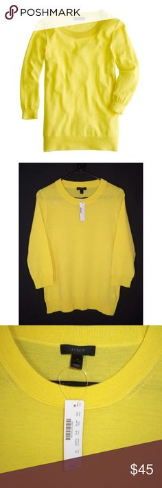 "NWT J. Crew M TIPPI Merino Wool Sweater Yellow Classic Tippi sweater from J. Crew. Color abbreviation is BYE, probably ""bright yellow""? 100% merino wool. New with tags Size Medium  Bust 36-38"" Waist 36"" Length 24"" Sleeves 18"" J. Crew Sweaters Crew & Scoop Necks"