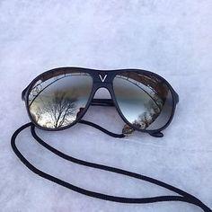 80d85a352d Vintage Very Rare Vuarnet Skilynx 4085 Sunglasses Black France W Vuarnet  Lanyard