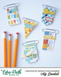 """DIY Paper Clip Bookmarks By Aly Dosdall with the """"A Fair To Remember"""" mini theme. DIY Paper Clip Bookmarks By Aly Dosdall with the """"A Fair To Remember"""" mini theme collection by Paperclip Crafts, Paperclip Bookmarks, Paper Clip Art, Echo Park Paper, Diy Papier, Candy Cards, Scrapbook Embellishments, Planner, Papers Co"""