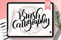 The Joyful Procreate Brush calligraphy starter set includes 21 handcrafted brushes to make your calligraphy and lettering on the iPad much easier and fun. - Creative Market Apple Pen, Scrapbooking, Calligraphy Pens, Photoshop Brushes, Photoshop Actions, Copic Markers, Brush Set, Clipart, Hand Lettering