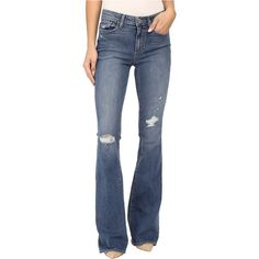 Paige High Rise Bell Canyon in Gia Destructed (Gia Destructed) Women's... ($145) ❤ liked on Polyvore featuring jeans, blue, blue ripped jeans, light wash high waisted jeans, destroyed jeans, slim fit jeans and high rise jeans