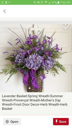 Lavender Basket-Spring Wreath-Summer by ReginasGarden on Etsy Summer Door Wreaths, Xmas Wreaths, Wreaths For Front Door, Spring Wreaths, Front Porch, Mothers Day Wreath, Baskets On Wall, Wall Basket, Front Door Decor