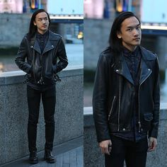Get this look: http://lb.nu/look/8406807  More looks by Xanthium James: http://lb.nu/xanthium  Items in this look:  Oak Perf Moto, Urban Outfitters Globe Floral Shirt, Kill City Junkie Fit Coated Jeans, Dr. Martens Albany   #classic #edgy #punk #allblack #floral #datenight #evening #dark #rebel