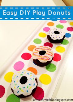 Easy DIY Play Food Donuts made from a sock! Fun for kids to help make and decorate.