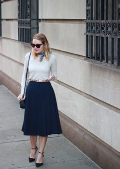 Office Style in French Connection navy midi skirt and ankle strap heels