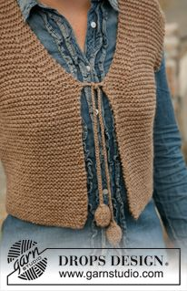 "Knitted DROPS small vest in garter st in ""Nepal"". Size: S to XXXL. ~ DROPS Design"