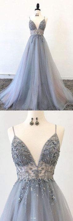 Gray v neck tulle long prom dress, gray tulle evening dress - Prom Dresses Design Grey Evening Dresses, Grey Prom Dress, Sparkly Prom Dresses, Pretty Prom Dresses, A Line Prom Dresses, Tulle Prom Dress, Ball Dresses, Homecoming Dresses, Beautiful Dresses