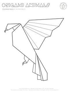 Bird coloring page - Origami Bird 1