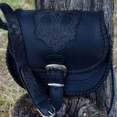 Black leather bag Scandinavian style Mjolnir  #celtic #leather #leatherbag #crossbody #scandinavian #casualbag  #mythology #bag #mjolnir