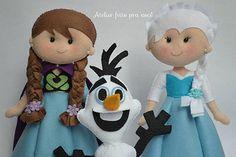 Personagens Frozen Anna, Elsa e Olaf