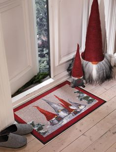 I love the Scandi gnomes... Love this doormat! & the gnomes too of course! MF