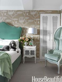Fantastical Bedroom in minty green. Design: Fawn Galli.