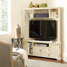 Reston Corner Media Console W/Hutch | Furniture | Ballard Designs