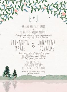 Watercolor Mountain/Lake Wedding Invitation // Hipster // Rustic // Gorgeous details!