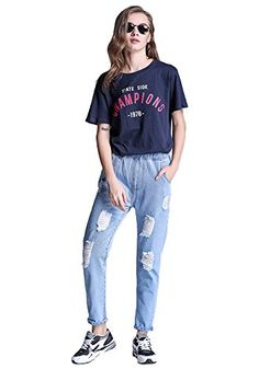 New Trending Denim: DOOXIUNDI Womens Destructed Boyfriend Loose Jeans in Blue (S, light blue). DOOXIUNDI Women's Destructed Boyfriend Loose Jeans in Blue (S, light blue)  Special Offer: $20.29  100 Reviews Suit for: Party, Office or Night Club, Cocktail, Formal Pls check your size and choose the right one for you.please allow 1-2cm differs due to manual measurement As...