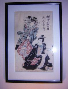 Geisha y caballero, litografía japonesa - Decoración Árabe  http://www.decoracion-arabe.es/proddetail.asp?prod=litografia-japon-antiguedad4