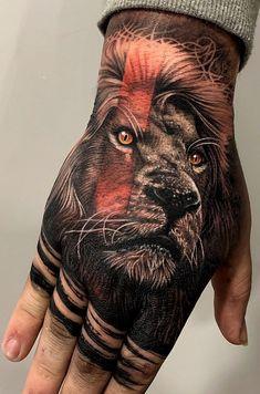Lion Hand Tattoo Men, Hand Tattoo Cover Up, Back Of Hand Tattoos, Tiger Hand Tattoo, Lion Tattoo Sleeves, Wolf Tattoo Sleeve, Leg Tattoo Men, Best Sleeve Tattoos, Mom Tattoos