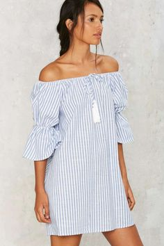 Neat as a Pinstripe Mini Dress - Clothes | Day | Off The Shoulder | Stripes