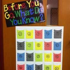 Exit slips: Students are assigned a number and write at least one thing they learned and any questions/concerns/confusion. They put their card in their designated pocket and I use as an assessment tool to know what each child specifically needs.