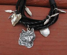 Native American Style Spirit of the Wolf Leather by SkyBlaze, $18.00
