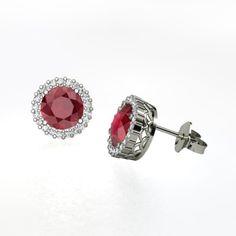 Round Ruby Platinum Earrings with Diamond   Margarita Earrings   Gemvara