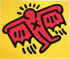 Flying Devil Icon by Keith Haring . Keith Haring rose to prominence in the graffiti, street art scene. He is linked with Basquiat and Warhol. Keith Haring Prints, Keith Haring Art, Arte Pop, Keith Allen, James Rosenquist, Kenny Scharf, Culture Art, Pop Culture, Jean Michel Basquiat