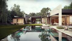 Diseño de Casa en Forma de L con Piscina