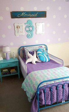 Little Girl Bedroom themes Awesome 28 Nifty Purple and Teal Bedroom Ideas Big Girl Bedrooms, Purple Bedrooms, Little Girl Rooms, Bedroom Girls, Bedroom Bed, Childrens Bedroom, Trendy Bedroom, Bed Room, Ocean Bedroom Kids