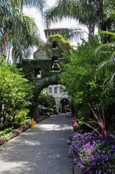 Entrance arch to the historic and beautiful Mission Inn, Riverside California